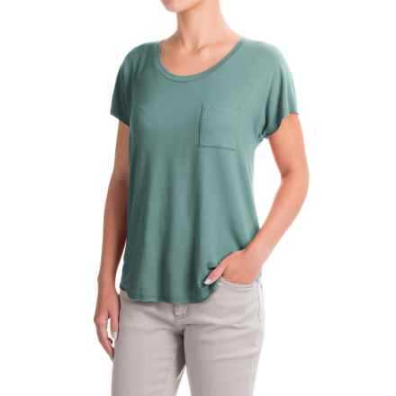 Artisan NY Raw Edge Pocket T-Shirt - Stretch Modal, Short Sleeve (For Women) in Muted Forest - Closeouts