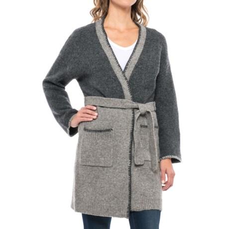 Artisan NY Recovery Tunic Cardigan Sweater - Tie Belt (For Women) in Grey Truffle