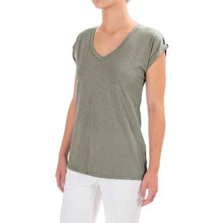 Artisan NY Roll Cuff Slub T-Shirt - V-Neck, Short Sleeve (For Women) in Split Pea - Closeouts