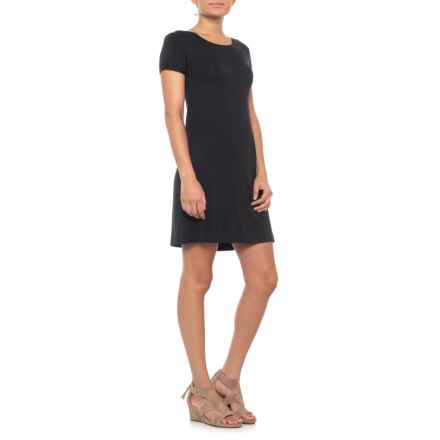 Artisan NY Rolled Cuff T-Shirt Dress - Short Sleeve (For Women) in Black - Closeouts