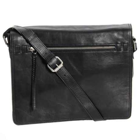Ny Rubbed Leather Messenger Bag In Black