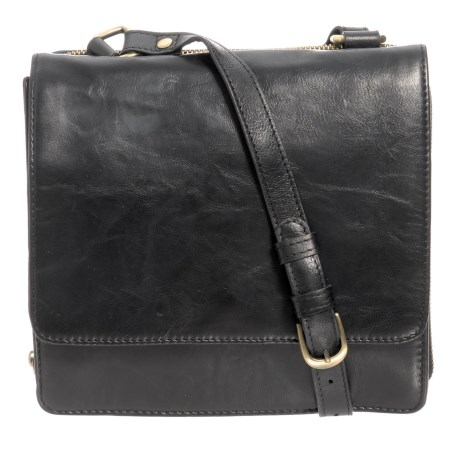 Ny Rubbed Leather Organizer Crossbody Bag In Black