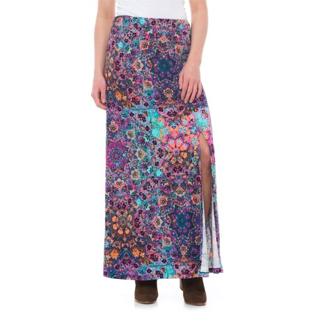 Artisan NY Ruched Waistband Print Maxi Skirt (For Women) in Bright Combo