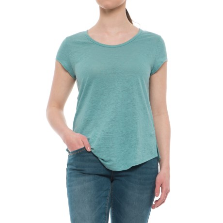 Artisan NY Scoop Neck Linen Shirt - Short Sleeve (For Women) in Cayman Bay