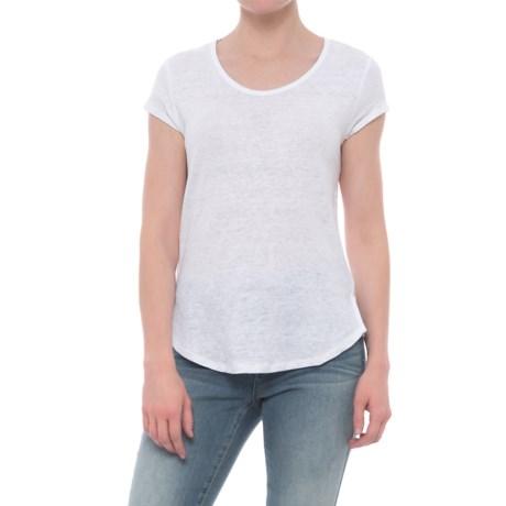 Artisan NY Scoop Neck Linen Shirt - Short Sleeve (For Women) in White