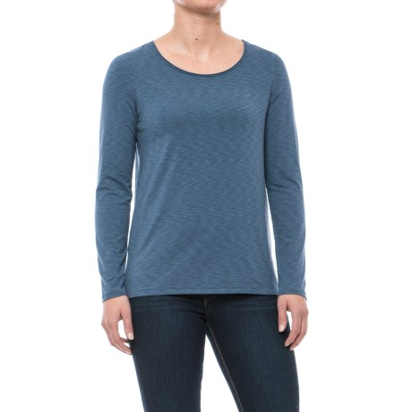 Artisan NY Scoop Neck Shirt - Long Sleeve (For Women) in Faded Denim