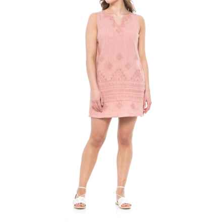 Artisan NY Short Split Linen Dress - V-Neck, Sleeveless (For Women) in Mauve Mayhem - Closeouts