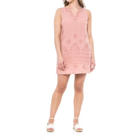 Artisan NY Short Split Linen Dress - V-Neck, Sleeveless (For Women) in Mauve Mayhem