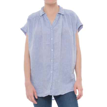 Artisan NY Solid Extended-Shoulder Shirt - Linen, Short Sleeve (For Women) in Chambray - Closeouts