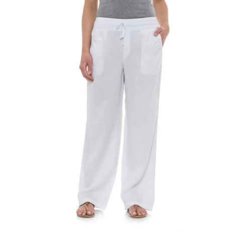 Artisan NY Solid Linen Drawstring Pants (For Women) in White