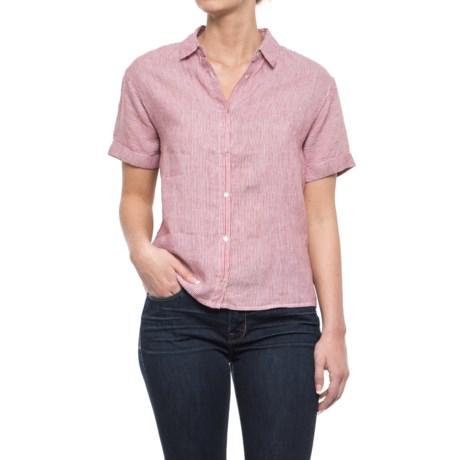 Artisan NY Striped Linen Shirt - Short Sleeve (For Women) in Red Engine Stripe