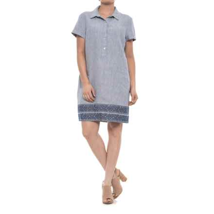 Artisan NY Striped Linen Shirtdress - Short Sleeve (For Women) in Blue/White Stripe - Closeouts