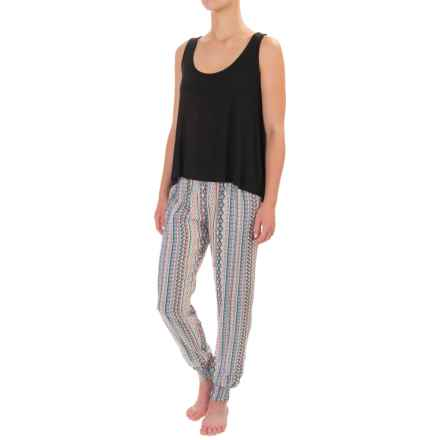 Artisan NY Tank Top and Joggers Pajamas - Scoop Neck (For Women) in Black/Pastel - Closeouts