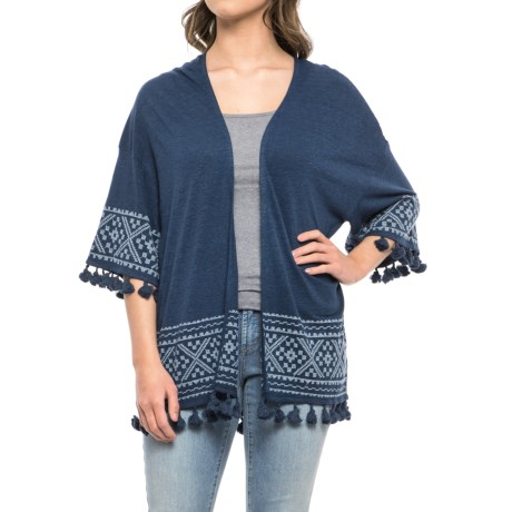 Artisan NY Tasseled Cardigan Sweater - 3/4 Sleeve (For Women) in Deep Pacific