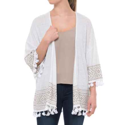 Artisan NY Tasseled Cardigan Sweater - 3/4 Sleeve (For Women) in Oyster - Closeouts