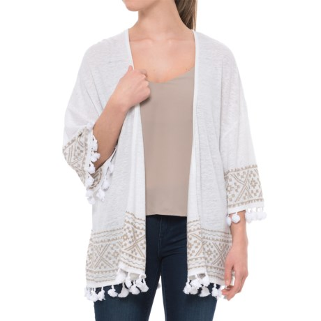 Artisan NY Tasseled Cardigan Sweater - 3/4 Sleeve (For Women) in Oyster