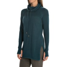 Artisan NY Textured Funnel-Neck Sweater (For Women) in Deep Teal Heather - Closeouts