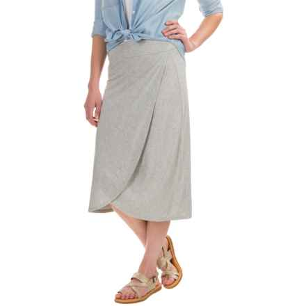 Artisan NY Tulip Midi Stretch Skirt (For Women) in Light Grey Heather - Overstock
