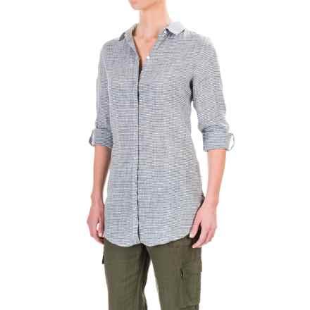 Artisan NY Yarn Dyed Linen Striped Shirt - Long Sleeve (For Women) in Indigo/White Stripe - Overstock