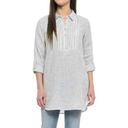 Artisan NY Yarn-Dyed Popover Shirt - Linen, Long Sleeve (For Women) in Blue Island Stripe - Closeouts