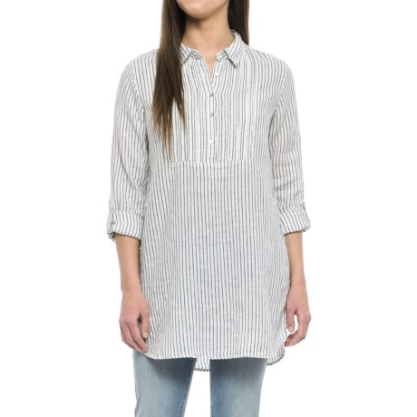 Artisan NY Yarn-Dyed Popover Shirt - Linen, Long Sleeve (For Women) in Blue Island Stripe