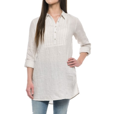 Artisan NY Yarn-Dyed Popover Shirt - Linen, Long Sleeve (For Women) in Khaki Island Stripe