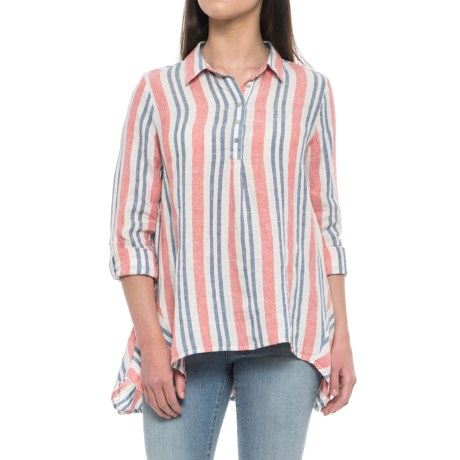 Artisan NY Yarn-Dyed Stripe Popover Shirt - Linen, Long Sleeve (For Women) in Bbq Stripe