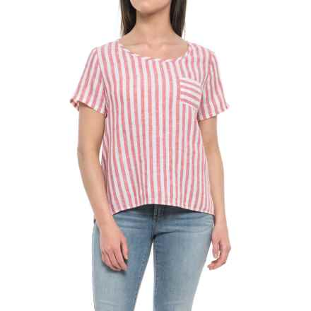 Artisan NY Yarn-Dyed Stripe Scoop Neck Shirt - Linen, Short Sleeve (For Women) in Red Railroad Stripe - Closeouts