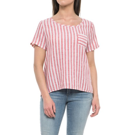 Artisan NY Yarn-Dyed Stripe Scoop Neck Shirt - Linen, Short Sleeve (For Women) in Red Railroad Stripe