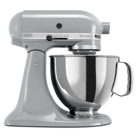 CLOSEOUTS. Made in the USA with enough power for nearly any recipe in your culinary repertoire, KitchenAidand#39;s Artisan Series mixer has a 10-speed, 325-watt power hub and 5-quart stainless steel bowl for stirring wet and dry ingredients, kneading bread dough and whipping up delicate meringues. The classic tilt-head design allows easy access for adding ingredients, and the quiver of enclosed attachments includes a flat beater, dough hook, wire whip and pouring shield for large ingredients. Available Colors: METALLIC CHROME.