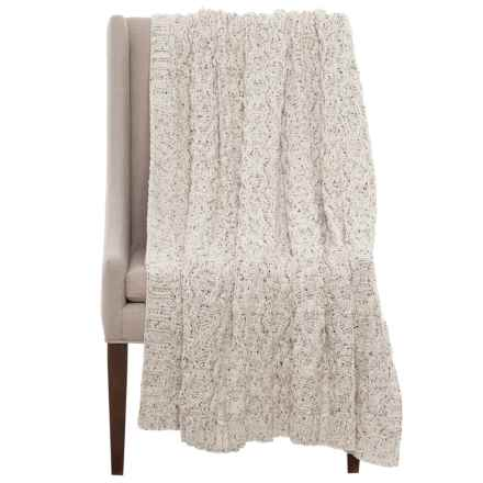 """Artisan Speckled Cable-Knit Throw Blanket - 50x60"""" in Ivory - Closeouts"""