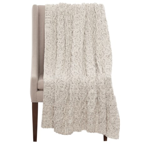 """Artisan Speckled Cable-Knit Throw Blanket - 50x60"""" in Ivory"""