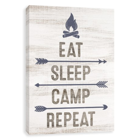 """Artissimo Designs 12x16"""" Eat, Sleep, Camp, Repeat Canvas Print in See Photo"""