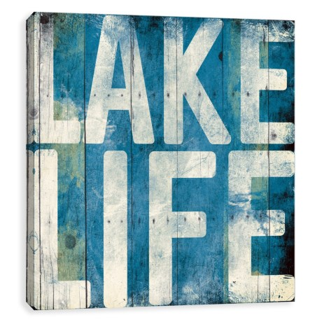 "Artissimo Designs 14x14"" Canvas ""Lake Life"" Print in Light Blue"