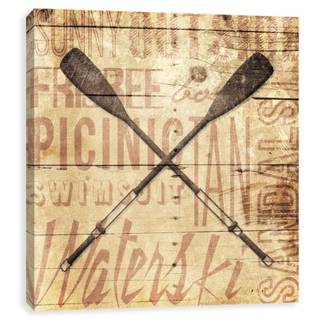 """Artissimo Designs 14x14"""" Canvas Wooden Oar Print in See Photo"""