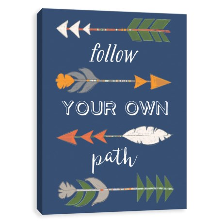 """Artissimo Designs 16x20"""" Canvas """"Follow Your Own Path"""" Arrows Print in See Photo"""