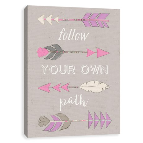 """Artissimo Designs 16x20"""" Canvas """"Follow Your Own Path"""" Arrows Recolor Print in See Photo"""