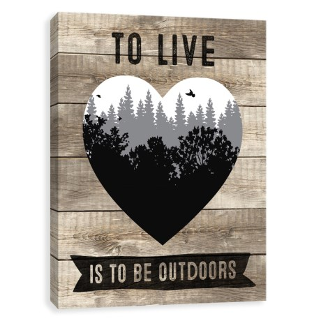 """Artissimo Designs 16x20"""" Canvas """"To Live is to be Outdoors"""" Print in See Photo"""
