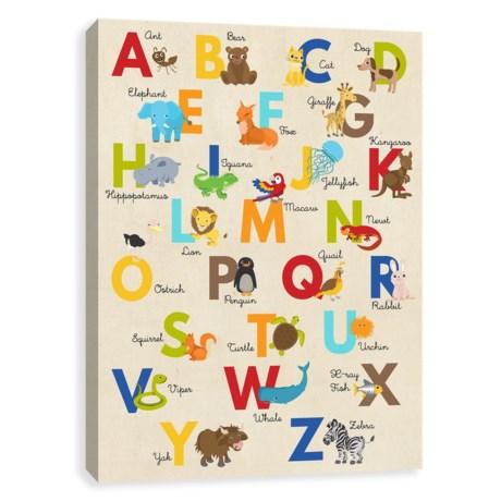 "Artissimo Designs 16x20"" Kids Alphabet Zoo Canvas Print in See Photo"