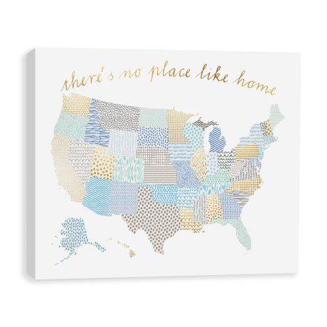"Artissimo Designs 30x24"" Kids ""There's No Place Like Home"" US Map Print in Blue"