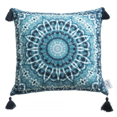 "Artistic Accents Shibori Kaleidoscope Decor Pillow - 20x20"", Feathers in Blue"