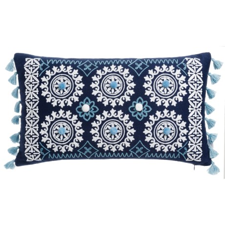 """Artistic Accents Spokes Medallion Decor Pillow - 14x24"""", Feathers in Navy"""