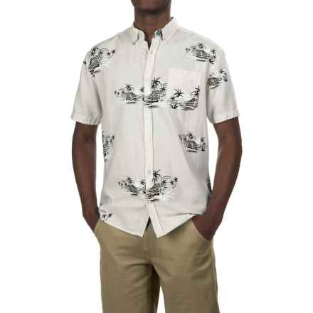 Artistry In Motion Artistry in Motion Printed Oxford Shirt - Short Sleeve (For Men) in Lunar Rock/Black/White Beaches - Closeouts