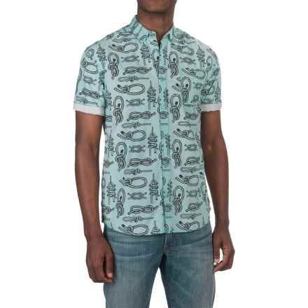 Artistry in Motion Knot Poplin Shirt - Short Sleeve (For Men) in Mint/Navy - Closeouts