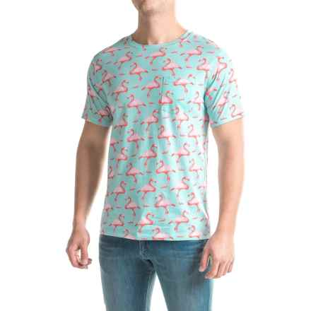Artistry in Motion Printed T-Shirt - Short Sleeve (For Men) in Ballad Blue/Flamingos - Closeouts