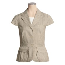 Asara Washed Linen-Cotton Jacket - Short Sleeve (For Women) in Multi - Closeouts