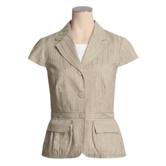 Asara Washed Linen-Cotton Jacket - Short Sleeve (For Women) in Multi