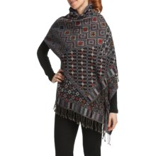 Asian Eye Adorno Embroidered Shawl - Wool (For Women) in Purple - Closeouts