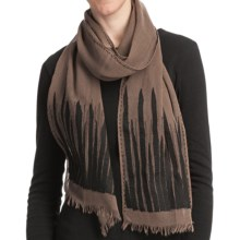 Asian Eye Backgammon Scarf - Light Wool (For Women) in Brown/Black - Closeouts