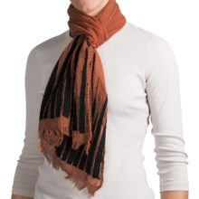 Asian Eye Backgammon Scarf - Light Wool (For Women) in Rust/Black - Closeouts
